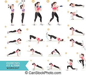 aerobic workout, kobieta, stosowność