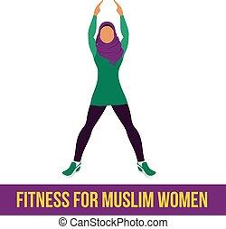 aerobico, colorare, musulmano, icons., pieno