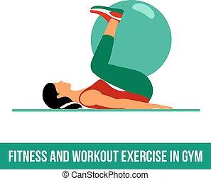 aerobico, palla, icons., esercizio