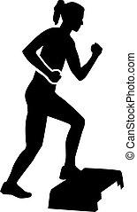 aerobico, passo, donna, esercizio
