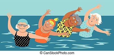 aerobics água, mulheres