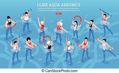 aerobics, aqua, poziomy, isometric, ilustracja