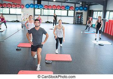 Aerobics class in progress