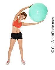 Aerobics girl with gym ball