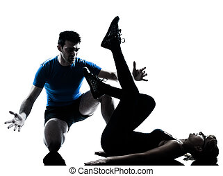 aerobics intstructor with mature woman exercising -...
