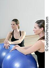 aerobics mirror relax woman pilates stability ball