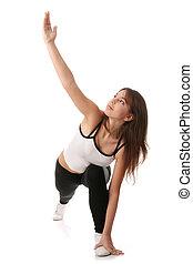 Aerobics - Physical training (aerobics) of beautiful young...