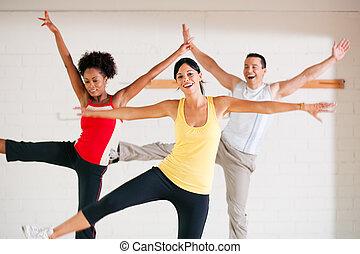 Aerobics training in gym