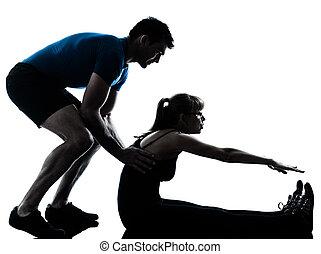 aerobik, intstructor, mit, reife frau, trainieren
