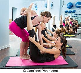 aerobik, pilates, persönlicher trainer, portion, frauen,...