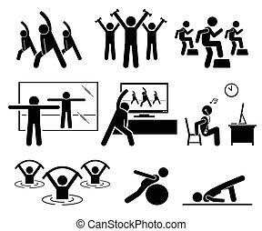 aerobio, clase, en, gimnasio, habitación, con, instructor.