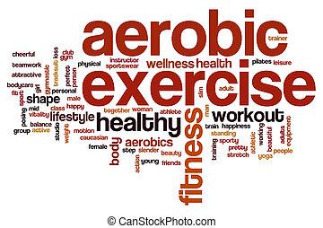 aerobio, palabra, ejercicio, nube