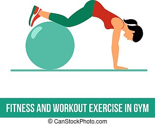 aerobio, pelota, icons., ejercicio