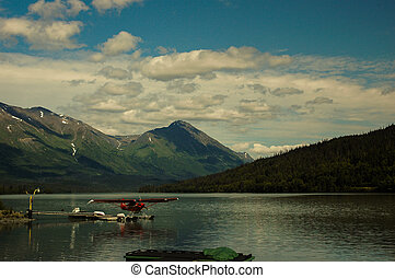 aeroboat, 통하고 있는, 호수, 에서, 알래스카