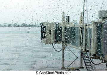 aerobridge in plane parked with rainy day