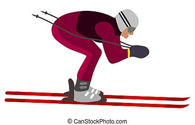 aerodinâmico, esquiador, posição