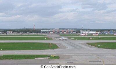 aeroflot, décollage, tchèque, lignes aériennes, champ, aéroport, avions, aller