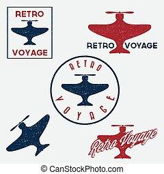 aeronáutica, jogo, grunge, vindima, etiquetas, retro, vôo, emblemas