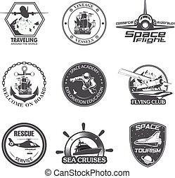 aeronáutica, jogo, vôo, vindima, espaço, emblemas, náutico