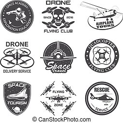 aeronáutica, jogo, vôo, vindima, espaço, , zangão, etiquetas, emblemas, emblemas