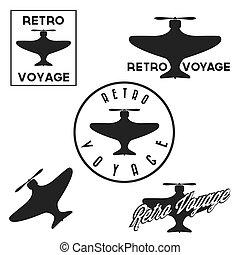 aeronáutica, jogo, vôo, vindima, etiquetas, retro, emblemas