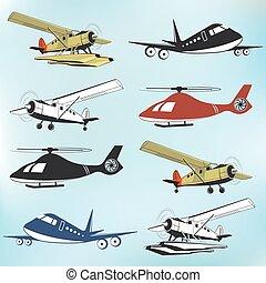 aeronáutica, jogo, vôo, vindima, retro, emblemas