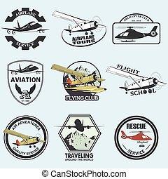 aeronáutica, retro, jogo, vôo, emblemas, vindima