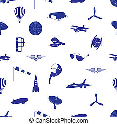 aeronáutico, iconos, patrón, eps10