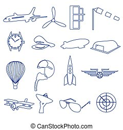 aeronautical blue outline icons