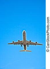 aeronave, aproximação, aterragem