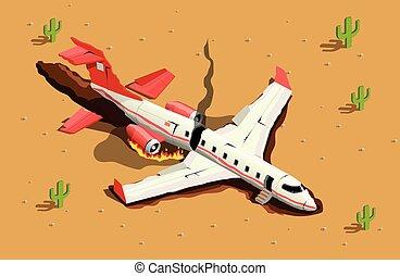 aeronave, choque, deserto, composição