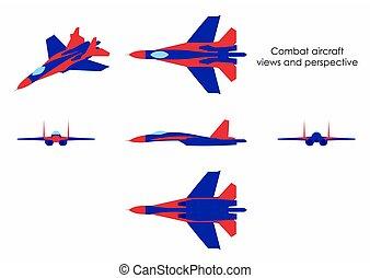 aeronave, colorido, combate