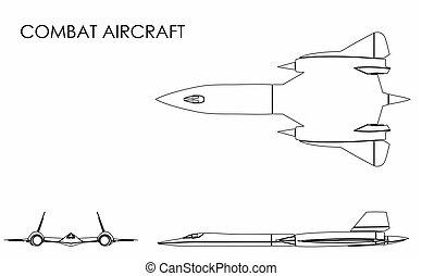aeronave, esboço, combate