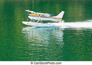 aeronave, hidroavião, indo, ligado, água tranqüila, de, lago