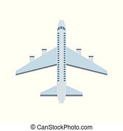 aeronave, isolated., azul, transporte, avião, passageiro, apartamento, vetorial, ilustração