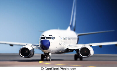 aeronave, ligado, pista decolagem
