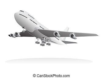 aeronave passageiro, partindo, chão
