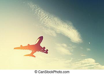 aeronave passageiro, silueta, carga, levando, voando, linha...