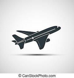 aeronave, vetorial, ícones