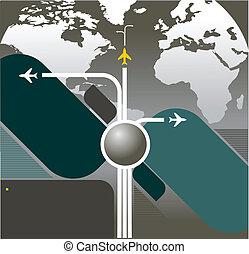 aeronave, vetorial, fundo