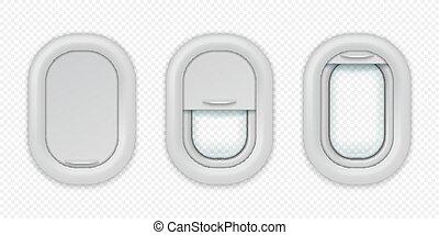 aeronave, vetorial, metade, modelo, realístico, desenho, posições, abertos, isolado, avião, windows., porthole, diferente, closed., fechado
