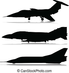 aeronave, vetorial, silhuetas, combate
