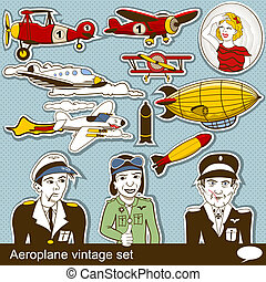 aeropalane, vendimia, conjunto