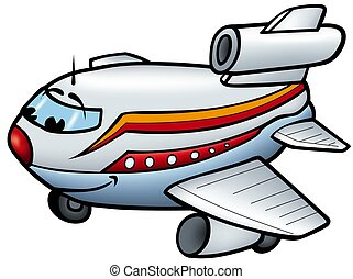 Aeroplane B - smiling cartoon illustration