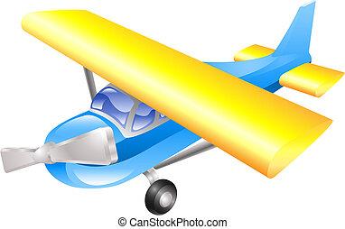 Aeroplane cartoon illustration vector in blue and yellow