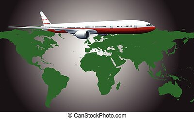 Aeroplane flying across the countries