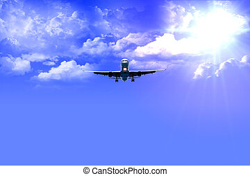 aeroplane after take off with good weather