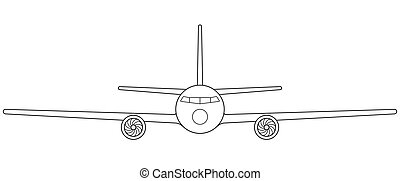 Aeroplane front view - Illustration of the contour aeroplane...