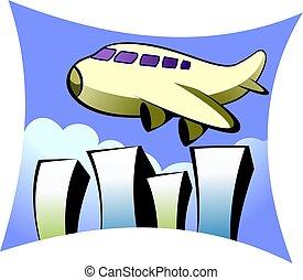 Aeroplane - Illustration of an aeroplane above skyscrapers