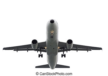Aeroplane isolated - Plane landing or flying away. Plane-sky...